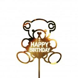 TOPPER OSITO HAPPY BIRTHDAY DORADO