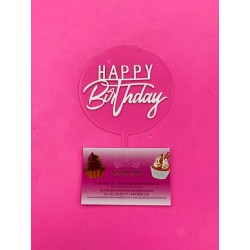 TOPPER HAPPY BIRTHDAY BLANCO CON PLACA TRANSPARENTE