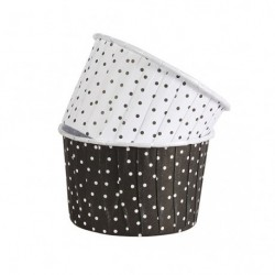 BAKING CUP COLOURED 24 NEGRO POLKA