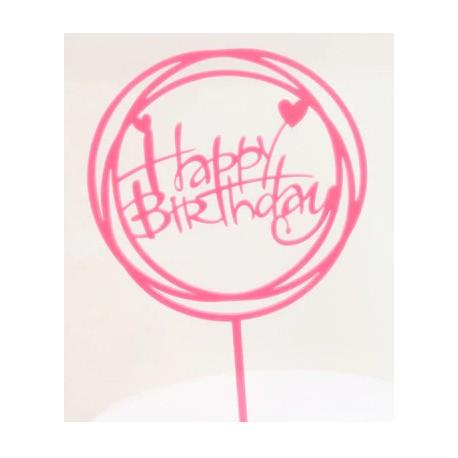 TOPPER HAPPY BIRTHDAY ROSA DOBLE